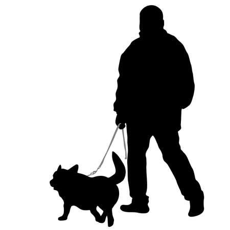 Silhouette d'homme et chien sur fond blanc.
