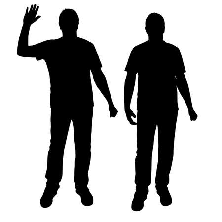 Black silhouette men standing, people on white background.