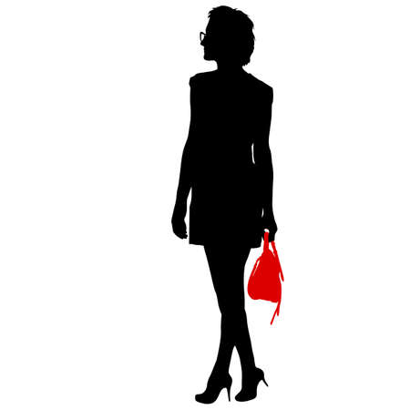 Black silhouette woman standing with a handbag, people on white background. Foto de archivo - 130352052