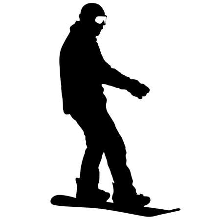 Black silhouettes snowboarders on white background illustration. 向量圖像