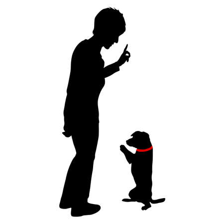 Silhouette of woman and Dog sitting on its hind legs on a white background.