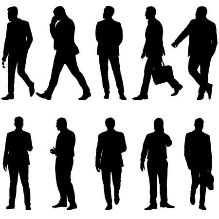 Set Black silhouette man standing, people on white background.