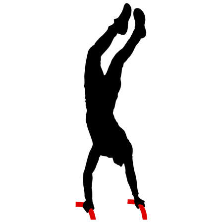 Silhouette of an acrobat standing on hands, on a white background.