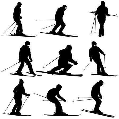 Stellen Sie Gebirgsskifahrer ein, der Abhangsportschattenbild beschleunigt. Vektorgrafik