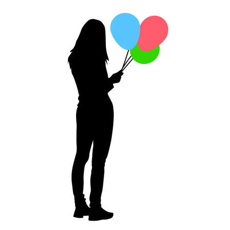 Silhouette of a girl with balloons in hand on a white background. Foto de archivo - 130352136