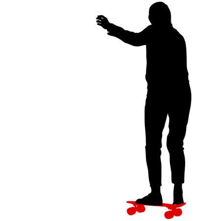 Black silhouette woman on a skateboard, people on white background. Foto de archivo - 130352167