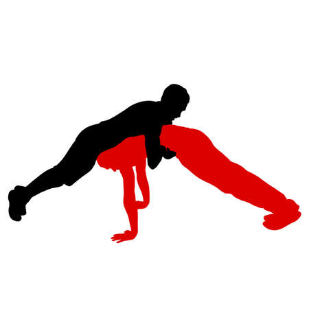 Two acrobats doing a stand, silhouette on a white background.