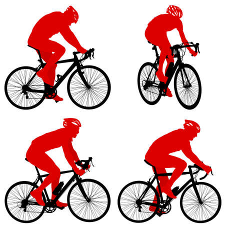 Set silhouette of a cyclist male on white background.