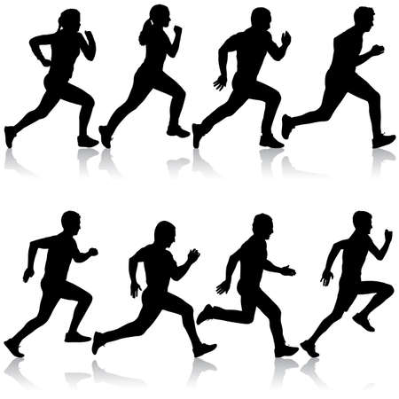 Set of silhouettes. Runners on sprint men and women.  イラスト・ベクター素材