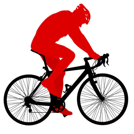 Silhouette of a cyclist male on white background.