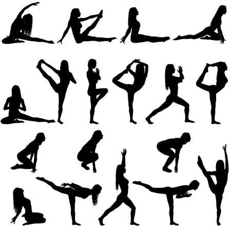Placez la fille de silhouette sur le cours de yoga dans la pose sur un fond blanc.