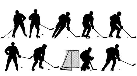 Set of silhouettes of hockey player Isolated on white. Vektorové ilustrace