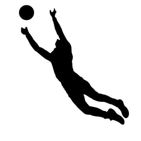 Acrobat jumping up silhouette on a white background. Ilustração