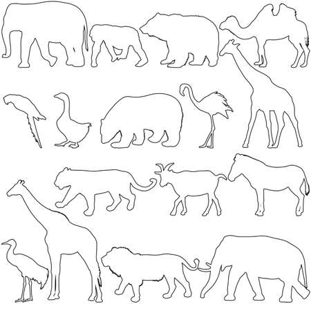 Silhouette elephant bear eagle trot duck zebra on a white background. Stock Illustratie