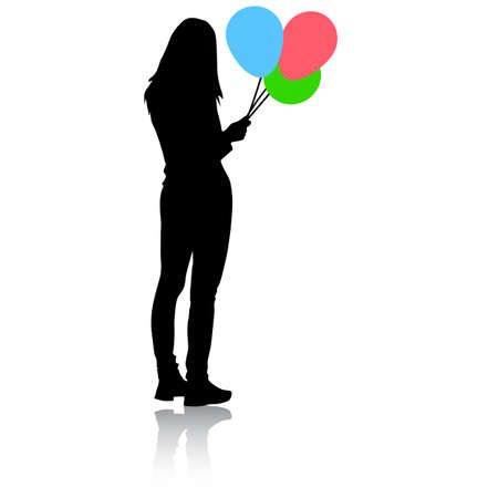 Silhouette of a girl with balloons in hand on a white background. Foto de archivo - 130352269