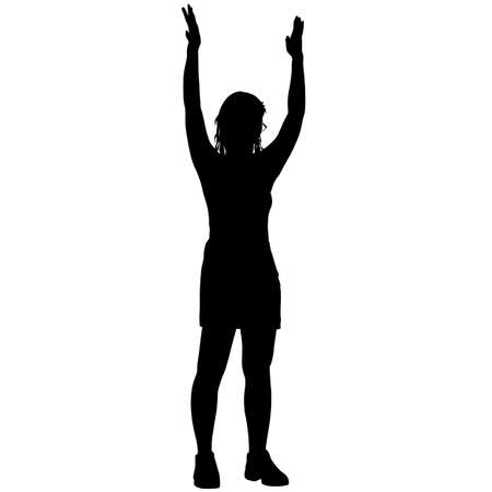 Black silhouettes woman with arm raised on a white background.