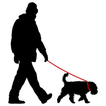 Silhouette of man and dog on a white background. Ilustracja