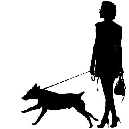 Silhouette of woman and dog on a white background.