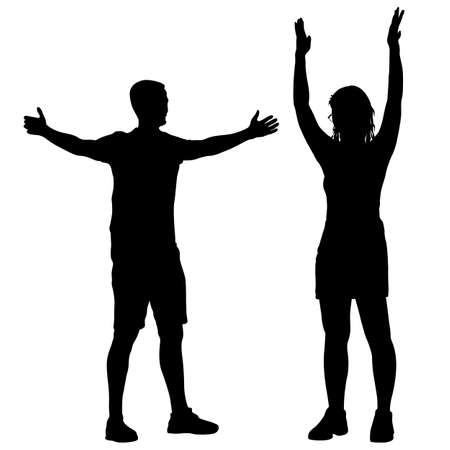 Black silhouettes men and women with arm raised on a white background. 일러스트