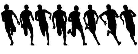 Set of silhouettes Runners on sprint men.
