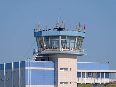 Moscow Russia Zhukovsky Airfield airport control tower the international aerospace salon MAKS-2019.