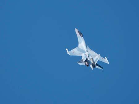 Moscow Russia Zhukovsky Airfield 31 August 2019: aerobatic Su-35 perfoming demonstration flight of the international aerospace salon MAKS-2019.