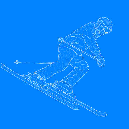 Mountain slalom skier silhouette sketch on white background. Archivio Fotografico - 133437523