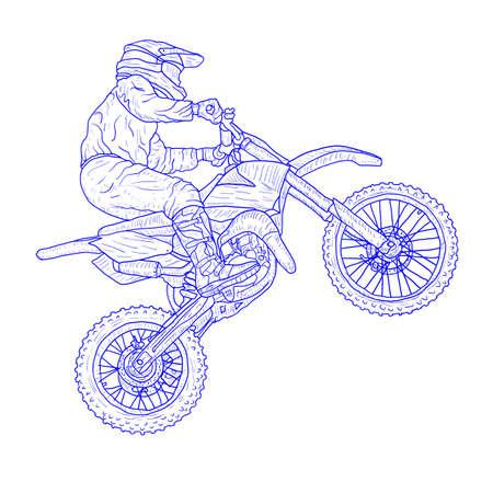 Motocross drivers silhouette sketch on white background. Archivio Fotografico - 133437528