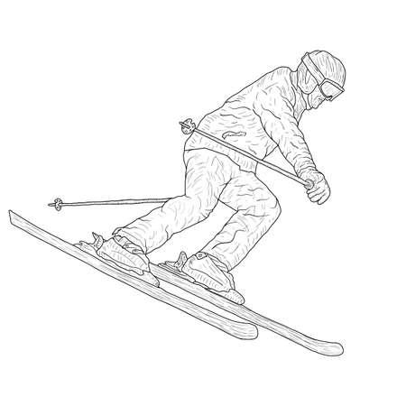 Mountain slalom skier silhouette sketch on white background. Archivio Fotografico - 133437602
