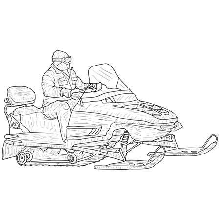 Motoneige avec croquis de silhouette de conducteur sur fond blanc.
