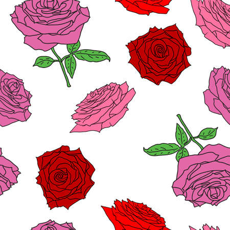 Beautiful seamless of different colors of roses and leaves. Stock Illustratie