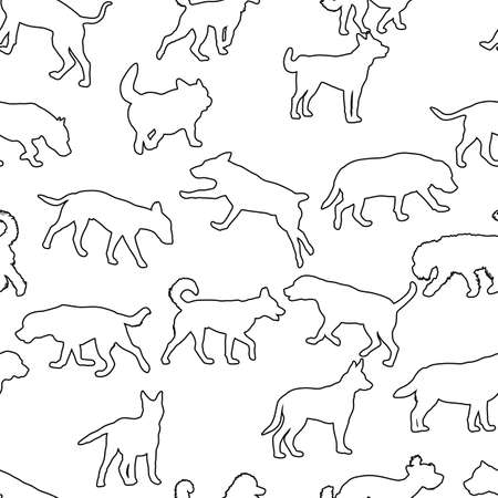 Seamless pattern with domestic dogs. Can be used as Christmas design for wrapping, postcards, and textile.