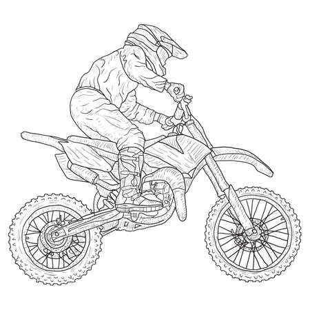 Schizzo di sagoma di piloti di motocross su priorità bassa bianca. Vettoriali