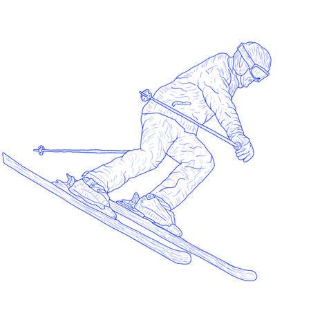 Mountain slalom skier silhouette sketch on white background.