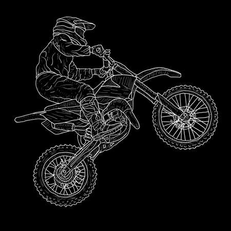 Motocross drivers silhouette sketch on white background.