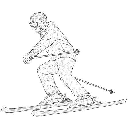 Mountain slalom skier silhouette sketch on white background. Archivio Fotografico - 133437995