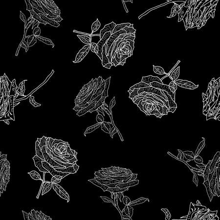 Beautiful seamless of different colors of roses and leaves. Imagens