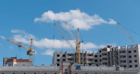 Time lapse of Building Under Construction, Crane and beautiful clouds no birds.