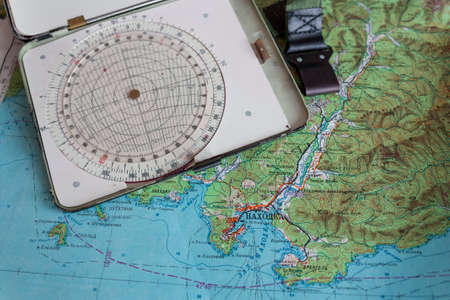 Map and navigational instruments for laying the way. Zdjęcie Seryjne