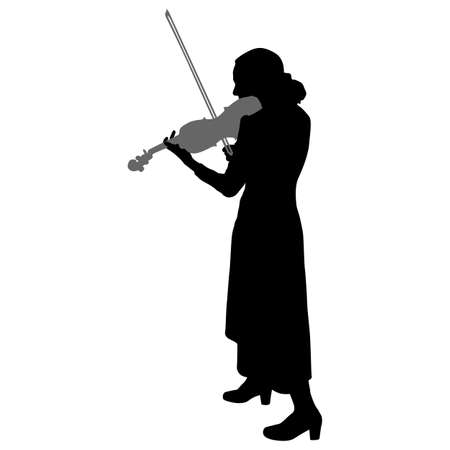 Silhouettes a musician violinist playing the violinon a white background.