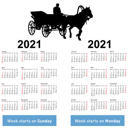 Calendar for 2021 of horse silhouettes isolated on white background.