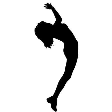 Black silhouettes dancing woman on white background. Illustration