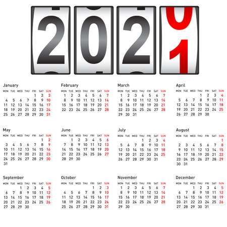 2021 New Year counter, change calendar illustration.
