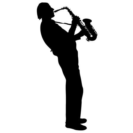 Silhouette of musician playing the saxophone on a white background.
