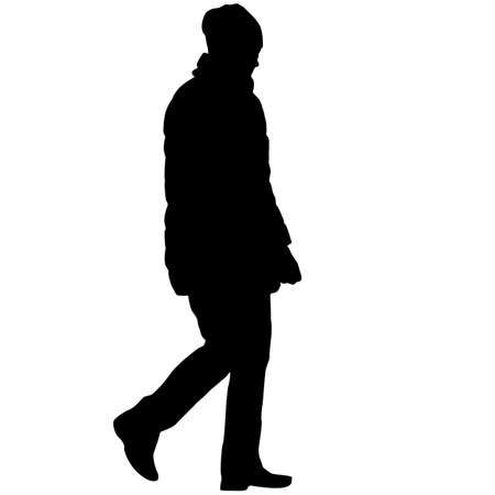 Silhouette of a walking girl on a white background. Vettoriali