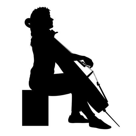 Silhouettes a musician playing the cello on a white background. Reklamní fotografie - 147445039