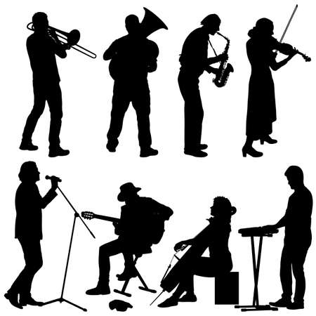 Silhouettes street musicians playing instruments on a white background. Illustration