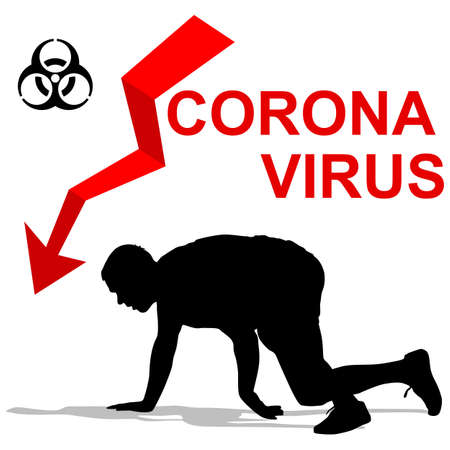 Stop coronavirus patient falls from a disease on a white background. Illustration