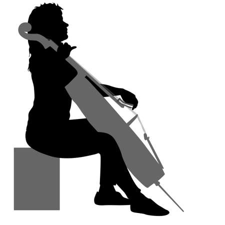Silhouettes a musician playing the cello on a white background.