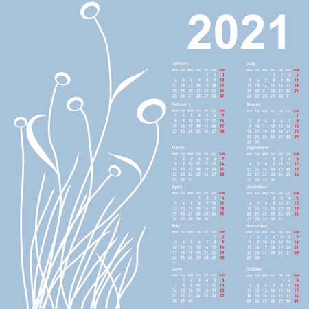 Stylish calendar with flowers for 2021. Week starts on Monday.